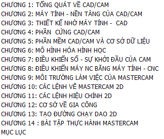 mục lục mastercam
